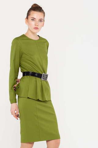 Фото зеленая блузка асимметричного кроя со складками справа - Блуза Г686-198 (1)
