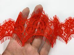 Кружево реснички красное (6,5х305 см)