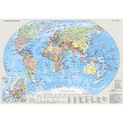 Карта настольная двусторонняя Мир и Россия 49х34 см