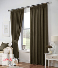 Длинные шторы. Тоскана (коричневый) рогожка.