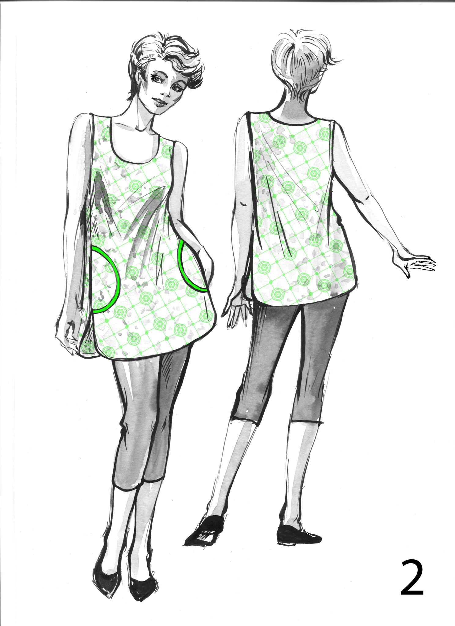 Майка -туника с фигурным низом и боковыми карманами
