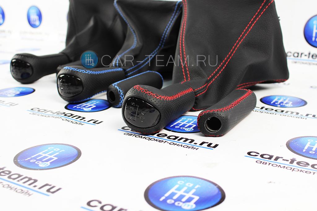 Комплект ручек КПП и ручника в экокоже на Лада Приора 1, вставка черный лак