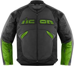 Мотокуртка - ICON SANCTUARY (кожа, черно-зеленая)