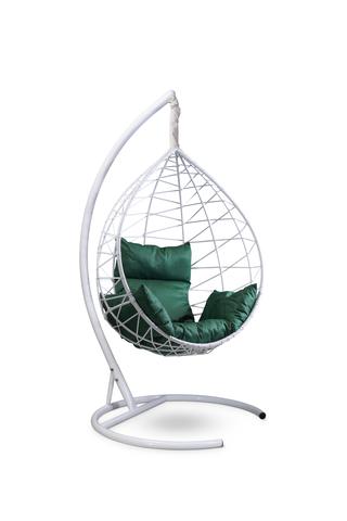Подвесное кресло-кокон ALICANTE белое + каркас + зеленая подушка