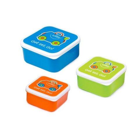 Ланч бокс 3 в 1, голубой, оранжевый, зеленый