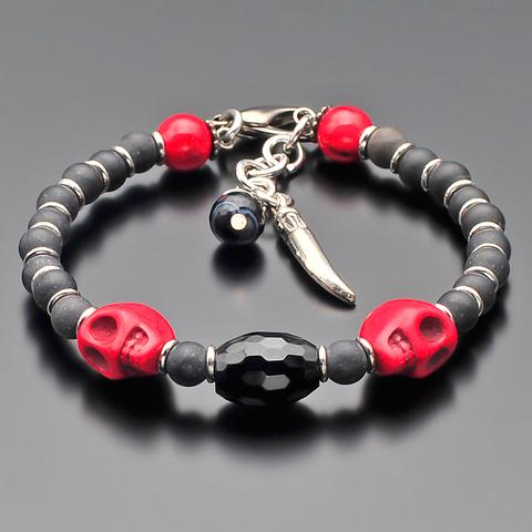 Стильный мужской браслет из натурального агата, шунгита, яшмы и ювелирной керамики Rico la Cara AMX003136