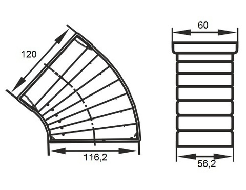 Колено разноугловое 120х60