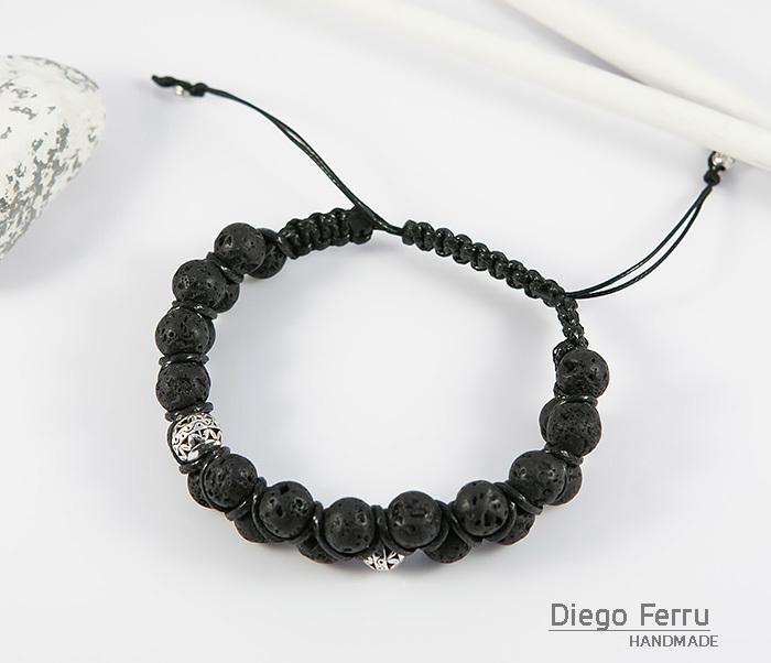BS644-2 Мужской браслет из вулканической лавы, ручная работа, «Diego Ferru» фото 02