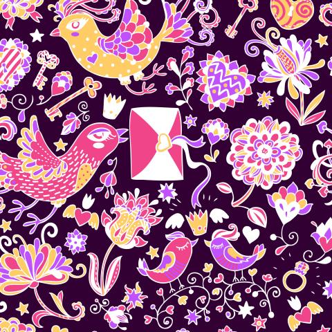 Влюбленные птички на фиолетовом фоне