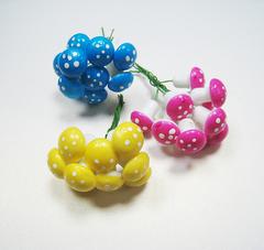 Грибы мухоморы цветные 2 см, 10 шт, на проволоке.