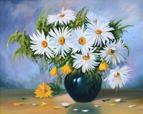 Картина раскраска по номерам 30x40 Букет ромашек в черной вазе