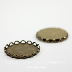 Сеттинг - основа для камеи или кабошона 18 мм (оксид латуни)
