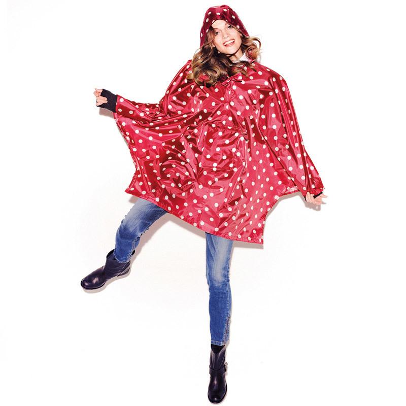 Дождевик пончо с капюшоном складной многоразовый женский mini maxi poncho dots черный Reisenthel AN7009 | Купить в Москве, СПб и с доставкой по всей России | Интернет магазин www.Kitchen-Devices.ru