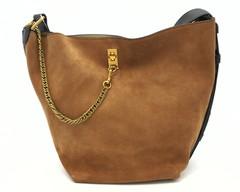 Комбинированная кожаная сумка с декоративным элементом