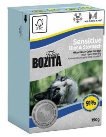 Bozita консервы для кошек с чувств. пищ., пожилых и с избыточн. весом кусочки в желе с лосем 190г