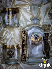 Подарочный  набор для виски «Министр»: штоф 800 мл, 2 стакана 275 мл, фото 2