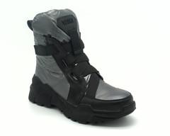 Ботинки зима.Комбенированные.Серого цвета