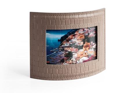 Рамка для фотографий из кожи цвет TRECCIA/CAFE LATTE