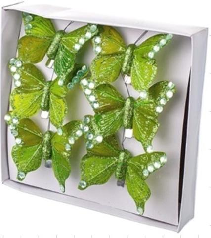 Набор бабочек с глиттером на прищепках 6шт., 6см, зеленый
