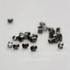 Кримпы - зажимные бусины - трубочки 1,8-2 мм (цвет - черный никель) 2 гр, (примерно 165 штук)