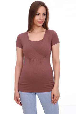Мамаландия. Футболка для беременных и кормящих на запах, коричневый меланж