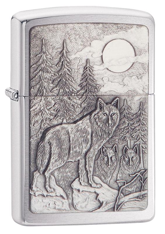 Зажигалка ZIPPO Classic Brushed Chrome™ с изображением Волка и Луны ZP-20855