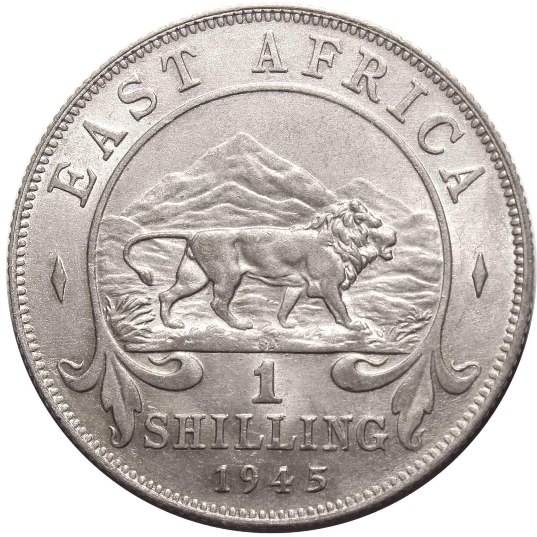 1 шиллинг. Британская Восточная Африка. Серебро. 1945 год. XF