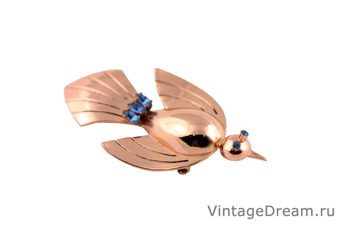 Unusual silver Bird brooch by Coro