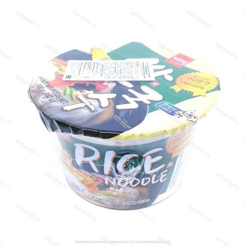 Корейская рисовая лапша со вкусом анчоуса Samjin Rice noodle with anchovy flavor, 100 гр.