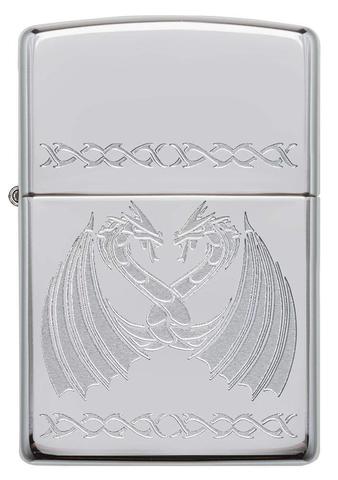 Зажигалка Zippo Dancing Dragons с покрытием High Polish Chrome, латунь/сталь, серебро, 36x12x56 мм123