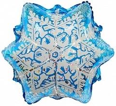Шар (20''/51 см) Фигура, Снежинка, Серебро, 1 шт.