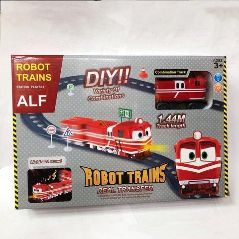 Роботы поезда Альф с вагончиками музыкальная железная дорога