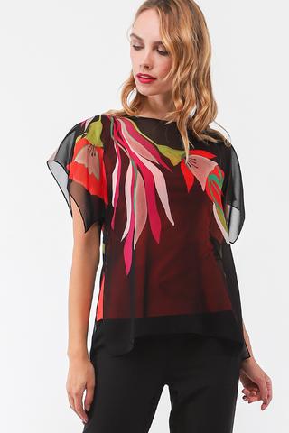 Фото яркая летняя двухслойная блуза с цветочным принтом - Блуза Г701-524 (1)