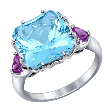 92011216- Кольцо из серебра с голубым ситаллом и фианитами