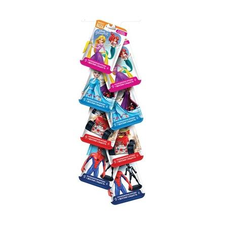 SBOX DISNEY МИКС Набор с игрушкой во флоупаке (Принцессы,Тачки, Холодное сердце,Человек Паук) 1кор*15бл*8шт