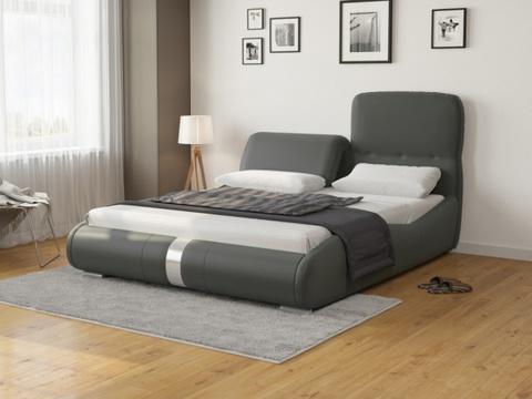Кровать Лукка: Экокожа серая