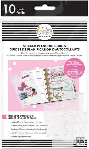 Пластиковые  лекала для мини планера - Happy Planner Mini Clear Sticker Planning 10/Pkg