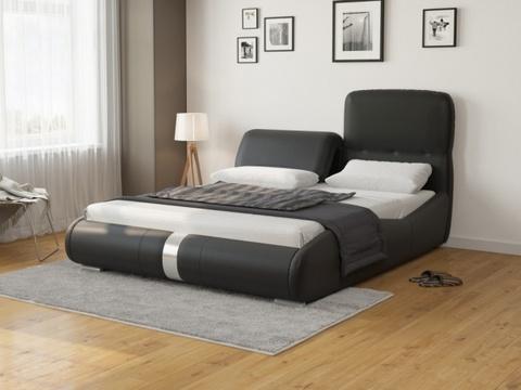 Кровать Лукка:  Экокожа черная