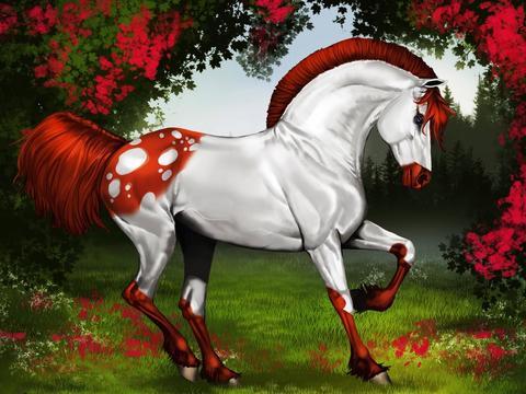 Алмазная Мозаика 40x50 Бело-рыжий конь