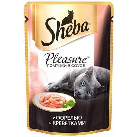 Sheba Pleasure пауч для кошек ломтики в соусе (форель и креветки) 85 г