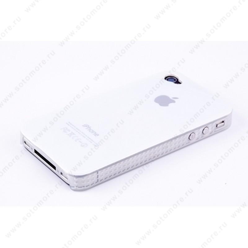 Накладка пластиковая для iPhone 4s/ 4 белая с яблоком