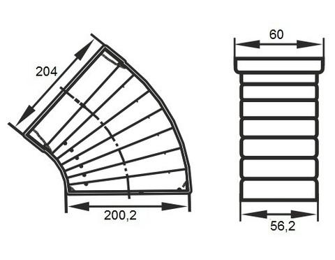 Колено разноугловое 204х60