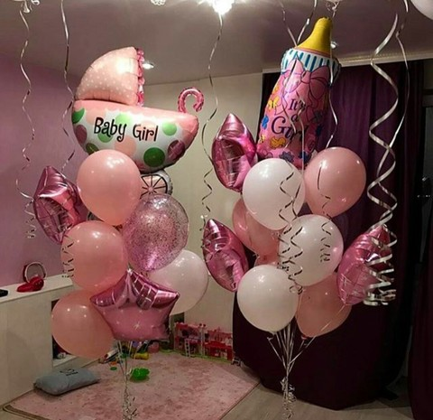 Букеты шаров к рождению девочки