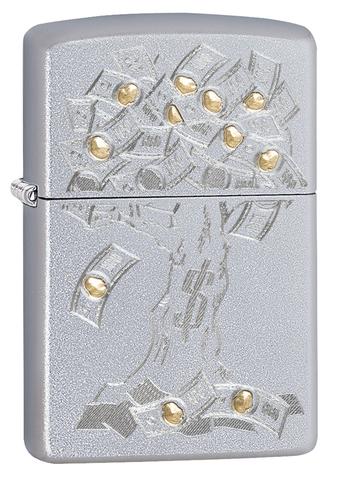 Зажигалка Zippo Money Tree Design с покрытием Satin Chrome, латунь/сталь, серебристая, 36x12x56 мм123