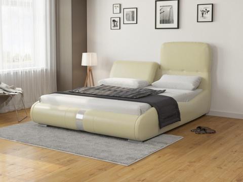 Кровать Лукка:  Экокожа кремовая