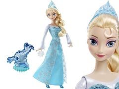 Кукла Эльза Холодное Сердце в наборе с 3 снежинками и Зефиркой, световые эффекты