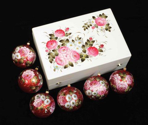 Набор из 6 елочных шаров в шкатулке SET04D-667785779