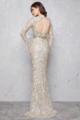 Mac Duggal 43136D платье полностью вышитое бисером, с длинным рукавом и небольшим шлейфом