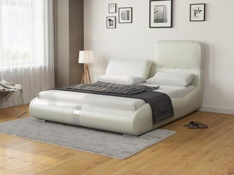 Кровать Лукка:  Экокожа молочный перламутр