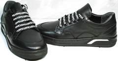 Черные кожаные кроссовки женские Rifelini by Rovigo 121-1 All Black